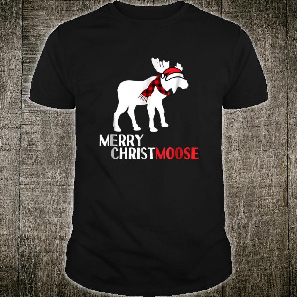 Moose Santa Hat Scarf Christmas Shirt Pajama Idea Shirt