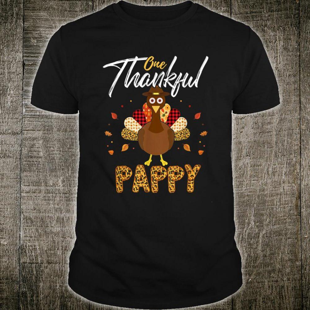 One Thankful Pappy Grandpa Turkey Thanksgiving Family Shirt