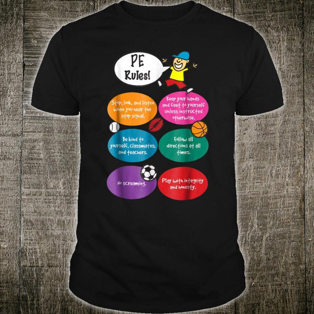 PE Rules Reglas de PE English Spanish Teacher Shirt
