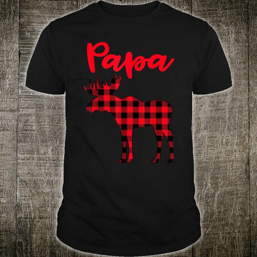 Papa Moose Red Plaid Matching Family Christmas Pajama Shirt