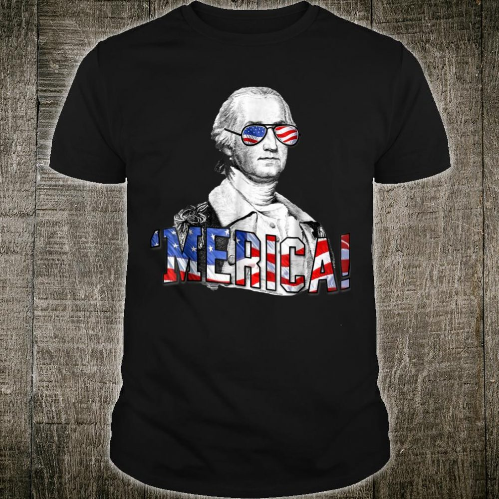 Patriotic G. Washington Glasses 4th of July Merica Shirt