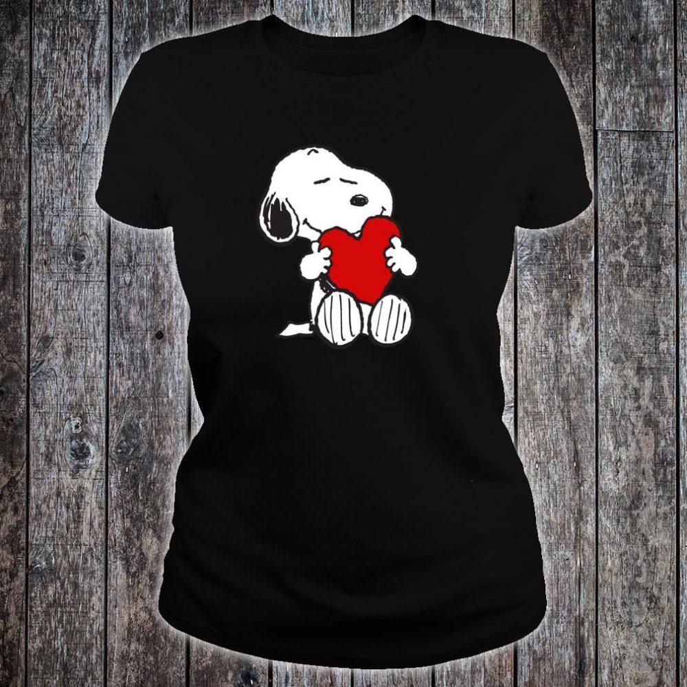 Peanuts Valentine Snoopy Hugging Heart Shirt ladies tee