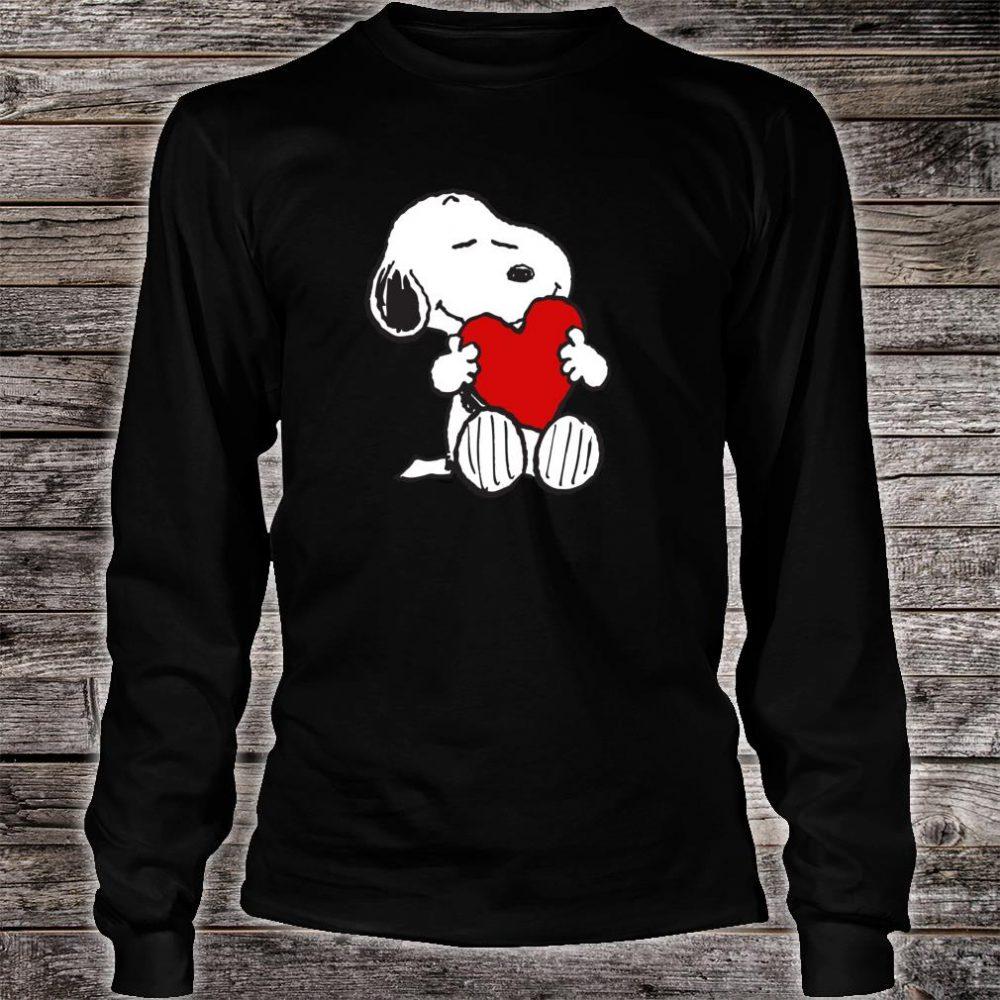 Peanuts Valentine Snoopy Hugging Heart Shirt long sleeved