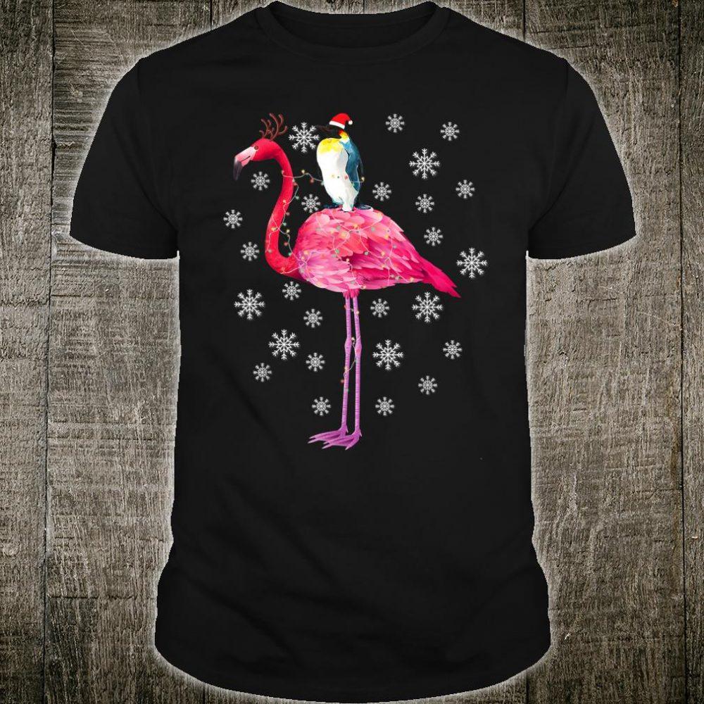 Penguin Riding Flamingo Christmas Pajamas Xmas Shirt