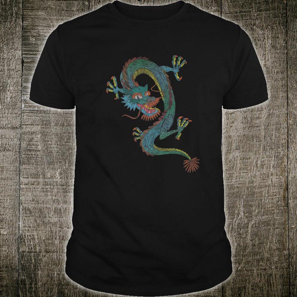 ROCKSTAR Boho Embroidery Colorful Blue Dragon Casual Shirt