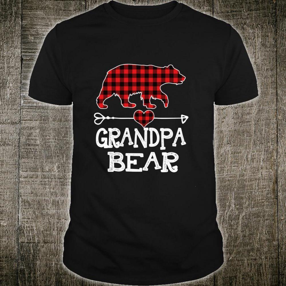 Red Plaid Grandpa Bear Buffalo Matching Family Pajama Shirt