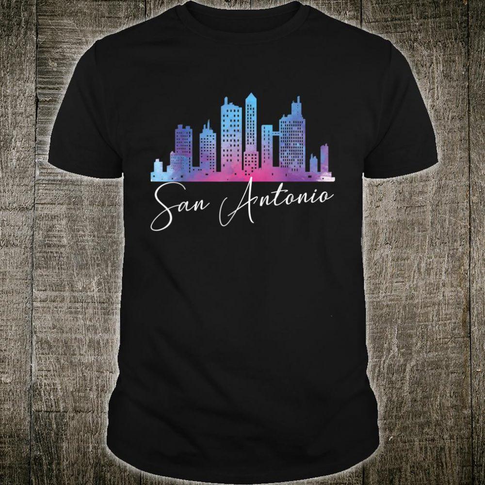 San Antonio Watercolor Skyline Texas State Shirt
