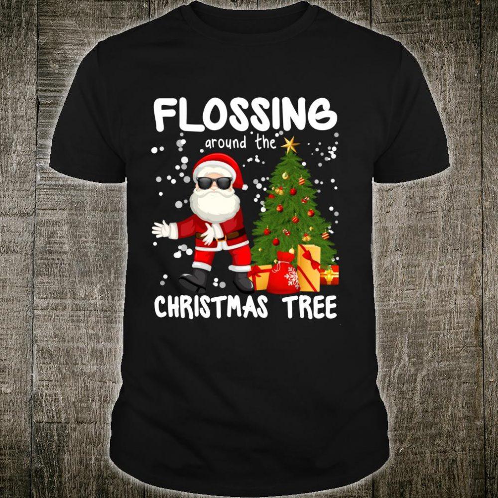 Santa Floss Flossing Around the Christmas Tree Shirt