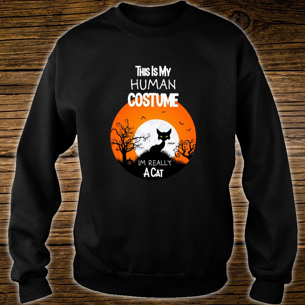 This Is My Human Costume Im Really a Cat Black Halloween Shirt sweater