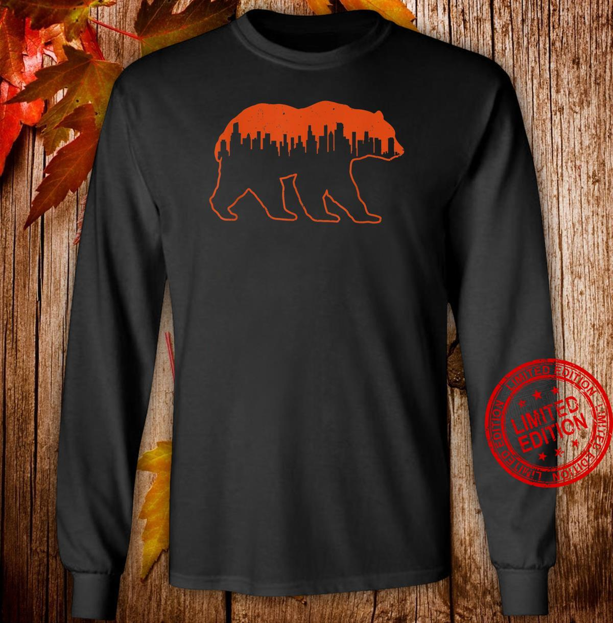 Vintage Downtown Chicago City Skyline WalkingBear Cityscape Shirt long sleeved